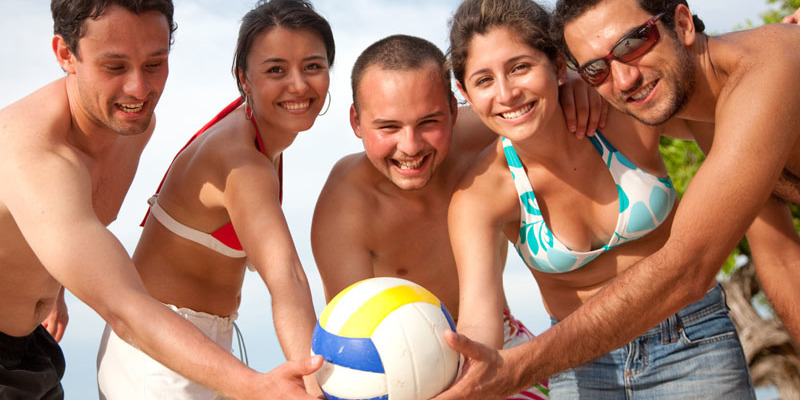 People with a volleyball